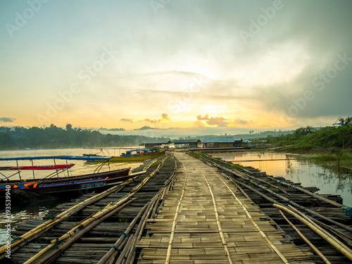 Sunrise at bamboo bridge