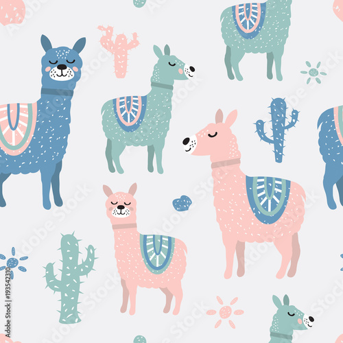 Tela  Childish seamless pattern with cute llama and cactus