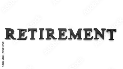 word retirement on white background pension planning buy this