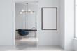 Leinwanddruck Bild - White home office, dark blue armchair, poster
