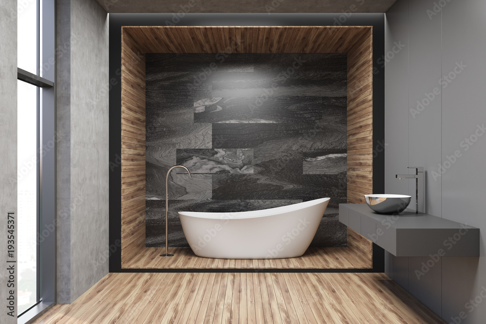 Szara Drewniana I Marmurowa łazienka Zamów Fototapetę