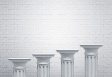 Greek Columns, White Brick Wall