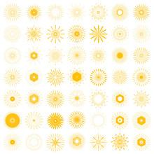 Big Set Of Retro Sun Burst Shapes. 49 Vintage Logo, Labels, Badges. Vector Design Element Isolated. Minimal Gold Firework Burst.