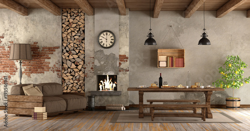 Foto op Plexiglas Retro living room with fireplace in rustic style