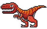 Fototapeta Dinusie - Vector illustration of Cartoon Dinosaur - Pixel design