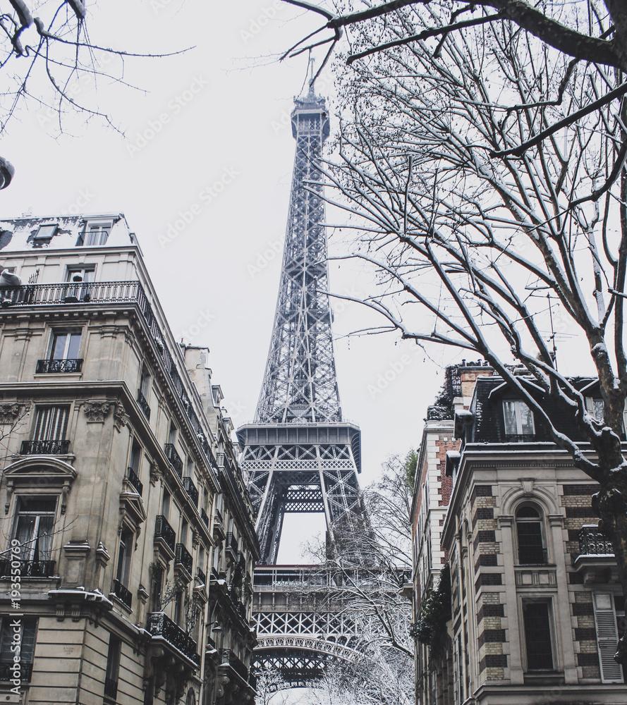 Fototapety, obrazy: Wieża Eiffla w śniegu