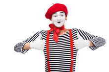 Happy Mime Showing Thumbs Up Isolated On White