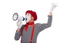 Mime Speaking In Megaphone And Gesturing Isolated On White