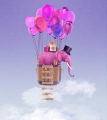 Różowy słoń leci na balony po niebie. Romantyczna ilustracja 3D na karty, zaproszenia na urodziny, rocznicę i inne wydarzenia