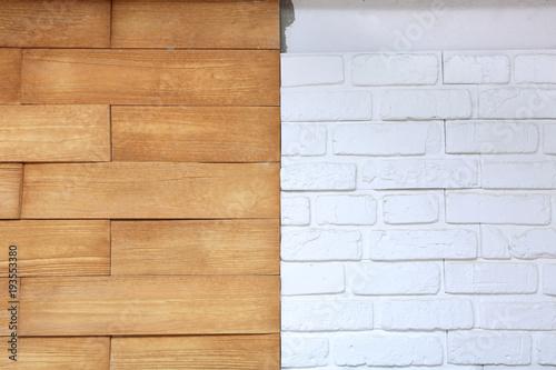 Ściana z białej cegły brązowego kamienia w budynku mieszkalnym.