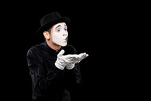 Mime Sending Air Kiss Isolated...