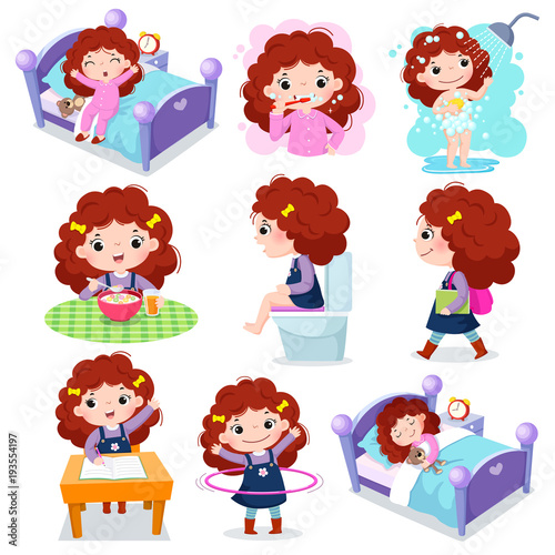 Photo  Daily routine activities for kids with cute girl