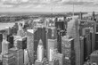 Black and white picture of the Manhattan, New York City, USA.