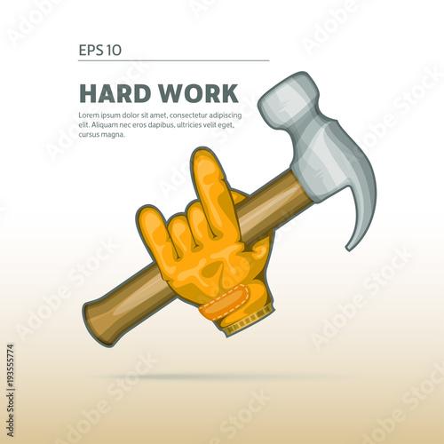 Fotografija  Worker, joiner holding a hammer. Icon of work activities.