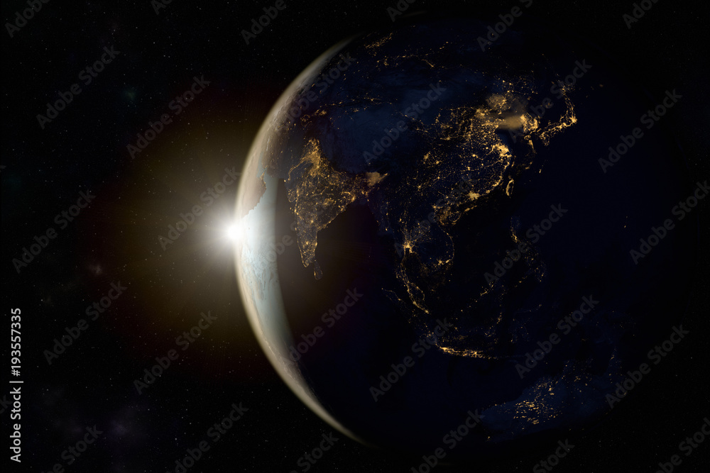 Fototapety, obrazy: 3D rendering of a sunrise on earth from space