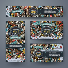 Corporate Identity Vector Templates Set Design With Doodles Hand Drawn Cinema Theme