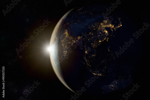 Cuadros en Lienzo 3D rendering of a sunrise on earth from space