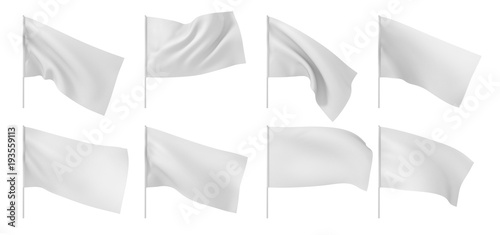 Fotobehang Stof Set of white flags. 3d illustration