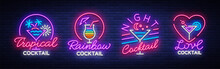 Cocktail Collection Logos In Neon Style. Collection Of Neon Signs, Design Template On The Theme Of Drinks, Alcoholic Beverages. Bright Advertising For Cocktail Bar, Party, Club. Vector Illustration