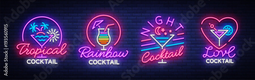 Fototapeta Cocktail collection logos in neon style