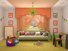 Design Of The Interior Of The Children's Room In Green Orange Colors. 3d Illustration