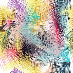 Panel Szklany Podświetlane Do przedpokoju Pattern from tropical palm leafs. Vector blue fabric colorful wallpaper design