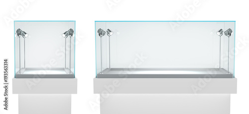 Cuadros en Lienzo Set of empty glass showcases in cube form for presentation on white background