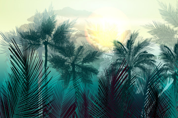 FototapetaTropical vector jungle landscape with palm trees and leafs. Morning green light