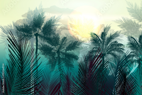 tropikalny-wektor-krajobraz-dzungli-z-palmami-i-liscmi-poranne-zielone-swiatlo