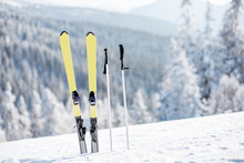 Skis With Sticks On The Snowy ...