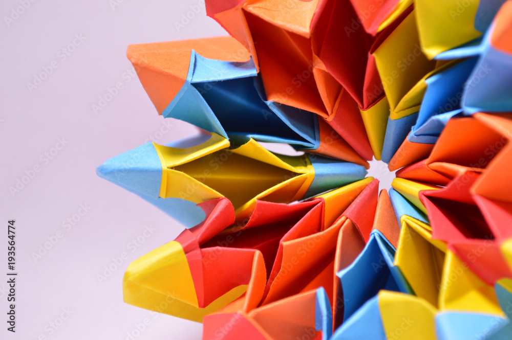 Fototapety, obrazy: Colorful paper origami close up detail