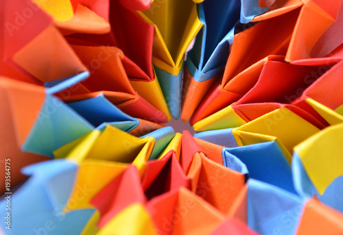Colorful paper origami close up detail Canvas Print