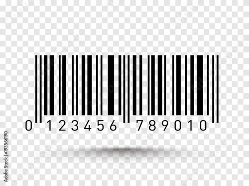 Fotografía  Barcode isolated on transparent background. Vector icon