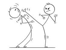 Cartoon Stick Man Drawing Illustration Of Karate Or Kung Fu High Kick Fight Or Training.