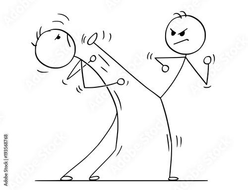 Cartoon stick man drawing illustration of karate or kung fu high kick fight or training Canvas Print