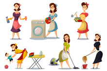 Housewives In A Vintage Retro Style 50's Vector Set. Cartoon Illustration Of A Mother With A Vacuum Cleaner, Ironing, Washing, Cooking, Playing With A Baby. Woman Character Does Housework.