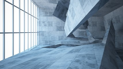 Abstract white and concrete parametric interior  with window. 3D illustration and rendering.
