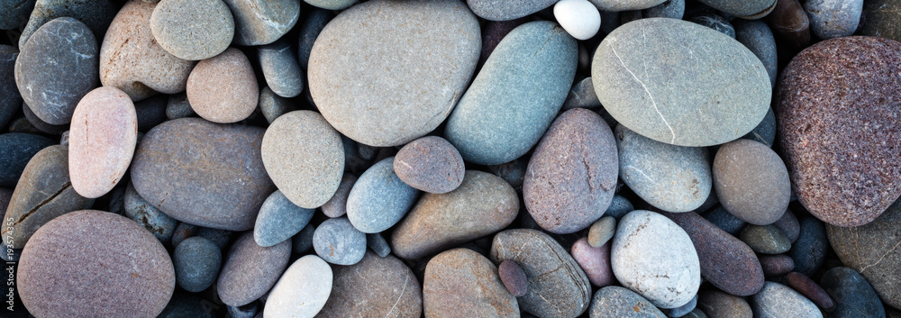 Fototapeta Web banner abstract smooth round pebbles sea texture background