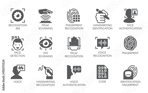 Photo  Set of 15 flat icons - biometric authorization, identification and verification symbols