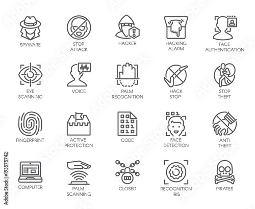 Photo 20 icons of virtual protection, cyberattacks, hacking, modern scan authentication theme