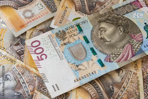Fotografering  Polish money background, 500 PLN and 200 PLN banknotes
