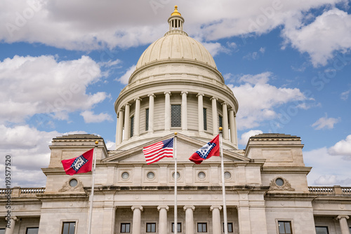 Flags Fly at the Arkansas Capitol Building in Little Rock, Arkansas Canvas Print
