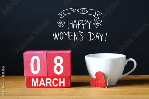 Poster Countryside Womens Day message with coffee cup with wooden blocks