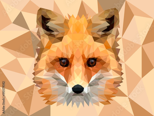 POLYGONAL ANIMAL FOX HEAD POLYGON LOGO ICON Wallpaper Mural