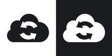 Vector Cloud Sync Icon. Two-tone Version On Black And White Background
