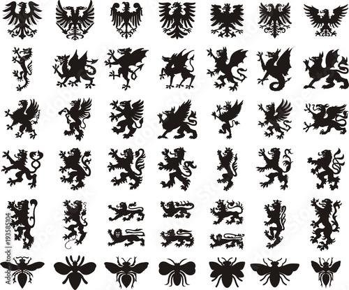 Heraldic elements set: eagle, dragon, lion, bee Fototapet