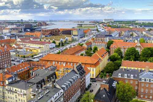 Poster Scandinavië Denmark - Zealand region - Copenhagen city center - panoramic aerial view of the central Copenhagen and outskirts in the background