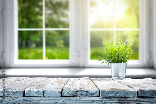 desk of free space and window of spring