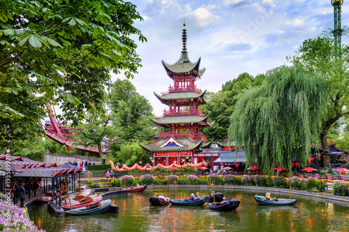 Photo  Denmark - Zealand region - Copenhagen city center - historical Tivoli Gardens am
