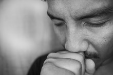 Young Asian Man Are Depressed And Alone At Home, Fear